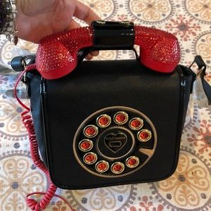 RARE! BETSEY JOHNSON RED RHINESTONE TELEPHONE BAG